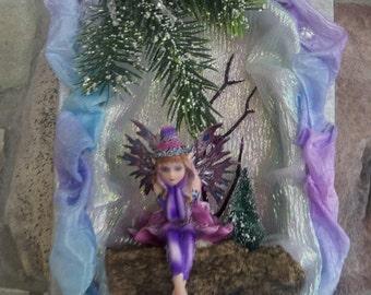 Winter Wonderland Fairy in Hand Carved Shadowbook