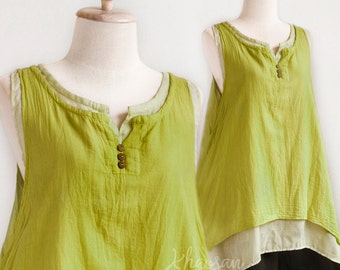 SALE, Women Sleeveless Cotton Summer Top, Doulble Layer Asymetrical Top in Green