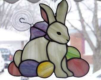 Easter Bunny and Eggs Stained Glass