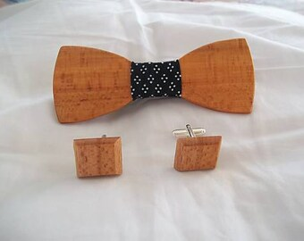 Wooden bowtie and cuff link set
