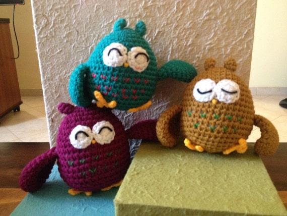 Items similar to Owl plush toy, gufo amigurumi, handmade ...