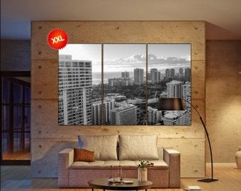 Honolulu canvas art prints large wall art black white canvas print Honolulu City Cityscape skyline City Office Decor