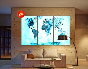 Map of the world canvas wall art canvas wall art art print turquoise world map print on canvas wall art turquoise world map art print artwork large world sciox Images