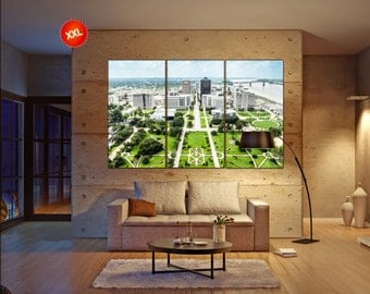 LARGE 3 or 5 panels / boards ready to hang aerial of baton Rouge with Huey Long statue and famous skyline canvas wall art Art fine art