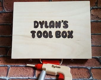 Personalised Toy Tool Box, Child's Wooden Tool Box, Personalised, Tool kit, Great Gift for Boys and Girls