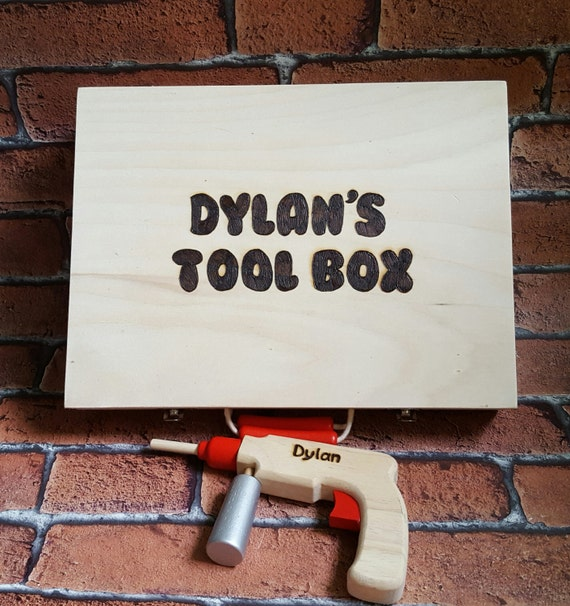 Toy Tool Kits For Girls : Personalised toy tool box child s wooden by forgetmeknotcrafty