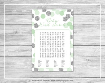 Mint and Silver Baby Shower Baby Word Search Game - Printable Baby Shower Baby Word Search Game - Mint and Silver Baby Shower - SP125