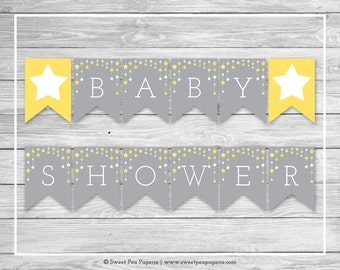 Twinkle Little Star Baby Shower Banner - Printable Baby Shower Banner - Twinkle Little Star Shower - Baby Shower Banner - EDITABLE - SP117