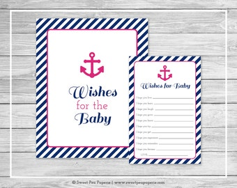 Nautical Baby Shower Wishes for Baby Cards - Printable Baby Shower Wishes for Baby Cards - Navy Pink Baby Shower - Wishes for Baby - SP119