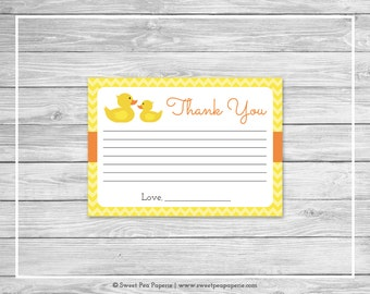 Rubber Ducky Baby Shower Thank You Cards - Printable Baby Shower Thank You Cards - Rubber Duck Baby Shower - Thank You Cards - SP121