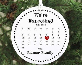 Expecting Ornament  We're Expecting Christmas Ornament Expecting Baby Ornament Pregnant Ornament Pregnancy Ornament with calendar IB2OFS