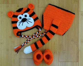 Crochet Baby Tiger Set: Hat,Diaper Cover and Booties, Set of 3, Newborn, Infant, Baby Shower Gift ,Photo Prop, Coming home outfit