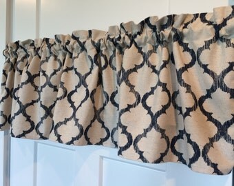 Tan and Navy Blue Geometric Lattice Home Decor Fabric Curtain valance 54 wide