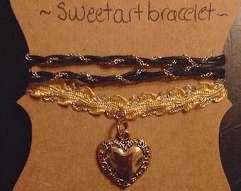 Pack of 2 bracelets gold and black