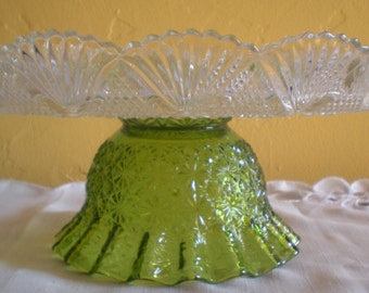 Wedding Cake Plate  11.5 inches. Dessert Stand/Cupcake Pedestal. Chartreuse
