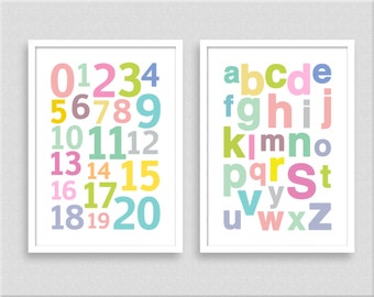 ABC poster, alphabet print, 123 wall art, print set of 2, modern nursery art, size A5 A4 A3, kids room wall decor-502