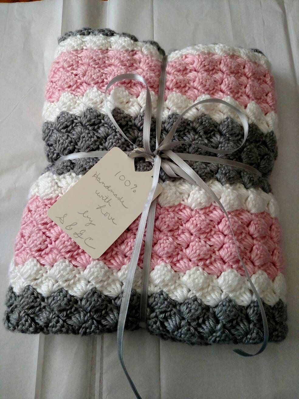 Crochet girl baby blanket hand made pink grey and white for Baby mobile pink and grey