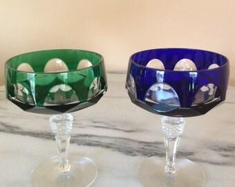 Nachtmann Antika Gorgeous Crystal Emerald Green& Cobalt Blue CHAMPAGNE or DESSERT Glass  (2)