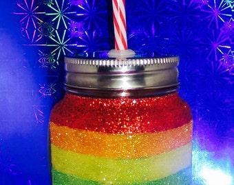 Rainbow mason jar