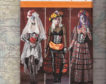 Plus Size Day of the Dead Costume Pattern, Simplicity 1033