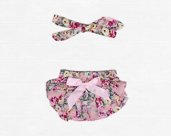 """Baby Girl Floral Ruffle Bloomer """"Siena"""" Size 0000, 000, 00, 0, & 1"""