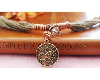 Rustic Rope Taurus Bracelet.