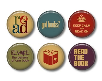 Book Magnets, Reading Magnets, Book Club Gifts, Fridge Magnets, Kitchen Magnets, Button Magnets, Magnet Set