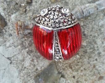 Sale Vintage Red Beetle Brooch Bug Pendant Fashion Pin Expiring Soon