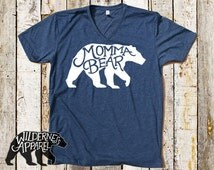 Momma Bear V-Neck Tee ~ Available In 3 Styles and Vintage Colors