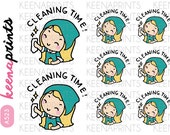 A523 | CLEANING TIME Keenari Repositionable stickers Perfect for Erin Condren Life Planner, Filofax, Plum Paper scrapbooking