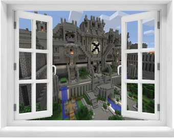 Window with a View Minecraft Wall Mural