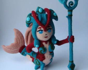 League of Legends Koi Nami Champion Kawaii turquoise mermaid Cute Toy Needle felted Geeky Gift idea Plushie Plush
