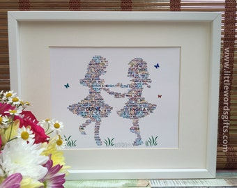 ALL YOUR WORDS - Personalised Dancing Girls/Twins Canvas Print Gift | Personalized
