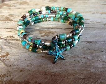 Memory Wire Bracelet with Starfish Charm