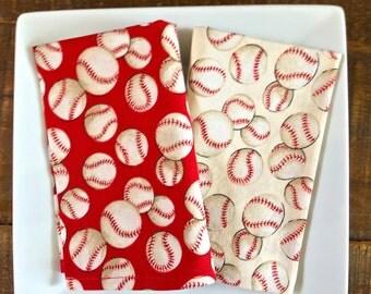 Kid's Lunchbox Napkins.  Baseballs on Red & Cream. Reusable, Eco Friendly.  Set of 2