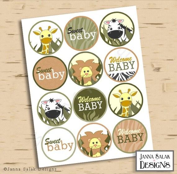 Safari Jungle Theme Printable Cupcake Toppers Cute Animals Baby Shower DIY Printable INSTANT