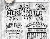 Farmers Mercantile Sign Stencil, Bundle Quotes Garden Digital Cutting design Vinyl Stencil, Wood Sign Stencil SVG Cut File Silhouette Studio
