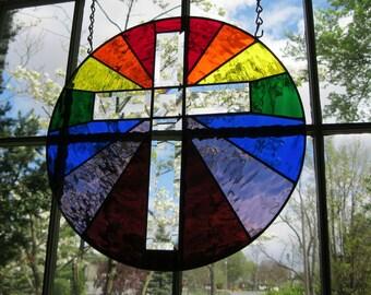 "THE GREAT PROMISE, Inspiring Stained Glass Suncatcher / Panel / Window, 7 Color Rainbow, Beveled Cross, 16"" Diameter, U.S. Artist Made ©2017"