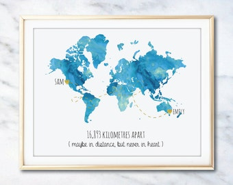 World Map *Custom Friendship/Relationship* Watercolour Print