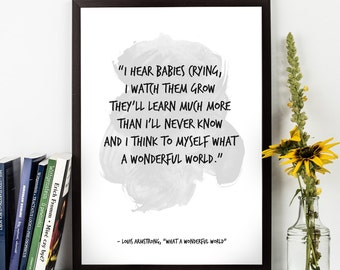 "What a wonderful world (...), Louis Armstrong LYRICS,  ""What a wonderful world"" lyrics, M<usic lyrics, Inspirational, Music Art print."