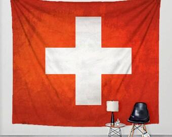 Swiss Flag Tapestry Distressed Fabric Art Print Wall Hanging - Switzerland Flag, Swiss Cross
