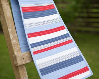 Patriotic Runner, Quilted Table Runner, Patriotic Wall Decor, Patriotic Quilt, Marine Decor, 4th of July Decor, Fourth of July