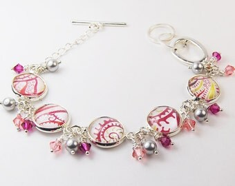 Pink Abstract Bracelet with Pearls and Crystals