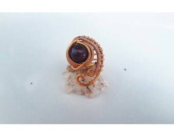 Size 8   Red Freshwater Pearl   Copper   Wire Wrapped Ring
