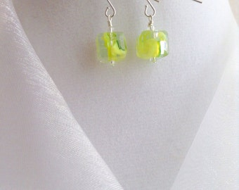 Clear Square with Yellow Green Swirl Czech Glass Dangle Earrings