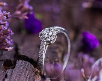 0.55 Ct Natural Brilliant Cut Diamonds set in 14K White Gold, Natural White Diamonds Halo Ring, White Gold Engagement Ring, Zehava Jewelry