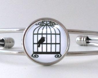Black and White Bird Cage Birds Silver Cabochon Bracelet