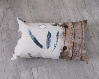 """Pillow Cover 30x50cm (12""""x20""""), Throw Pillow, Nautical Decor, feather design, Cushion in Handmade, home decoration, house warming,"""