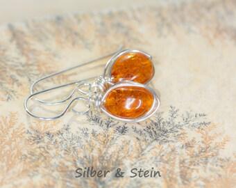 Gemstone Earrings Amber Silver