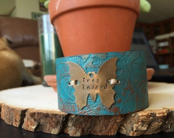 free indeed butterfly handstamped painted cuff